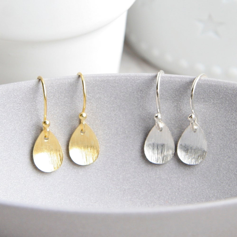 Image of Brushed Leaf And Freshwater Pearl Earrings