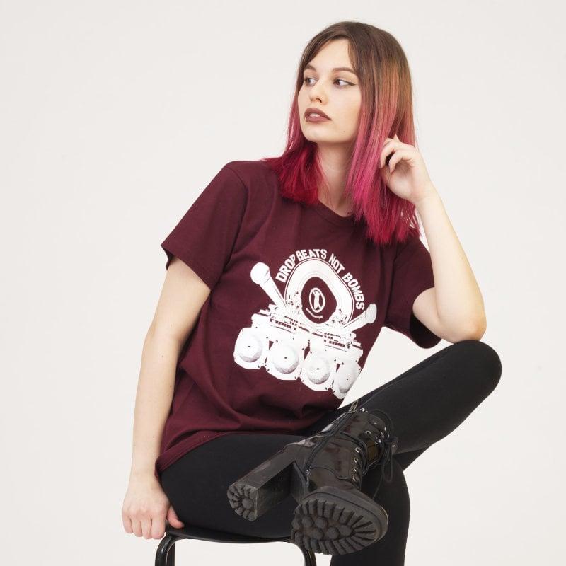 Image of Drop Beats Not Bombs Burgundy T-Shirt
