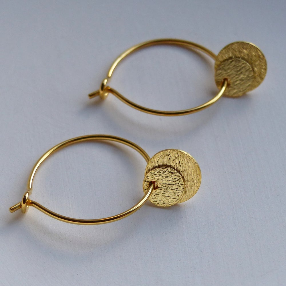 Image of Double Disc Hoops In Gold