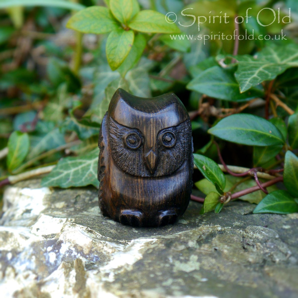 Image of Irish bog oak owl amulet (DAM419)