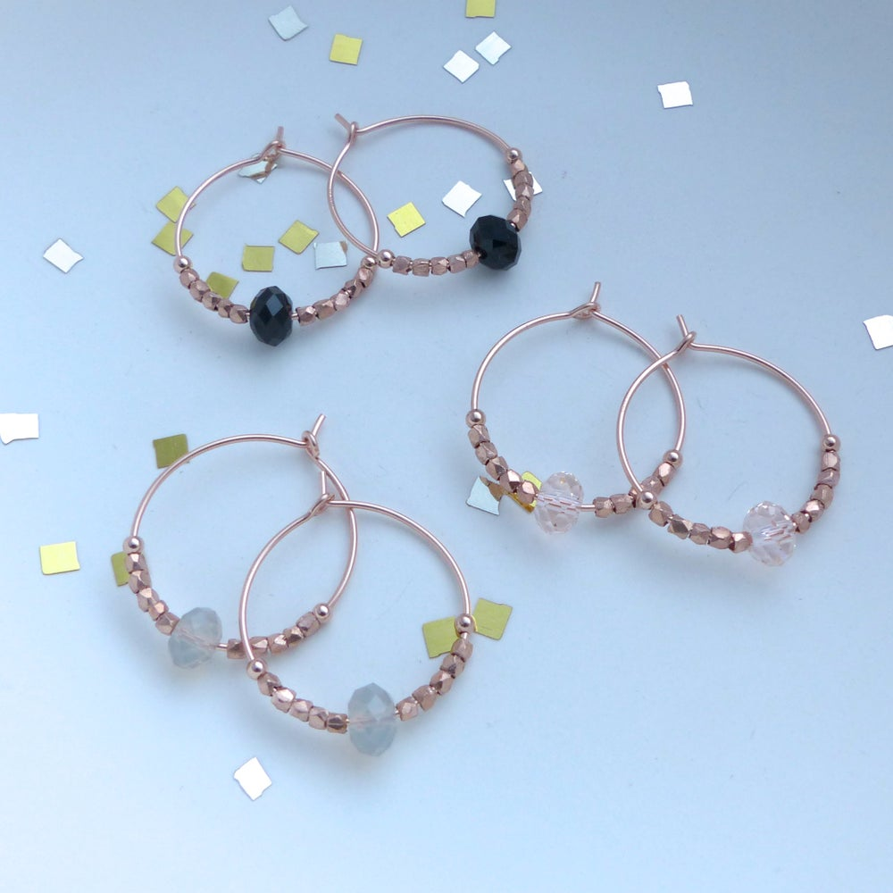 Image of Rose Gold Hoops Elaborated With Swarovski Crystals