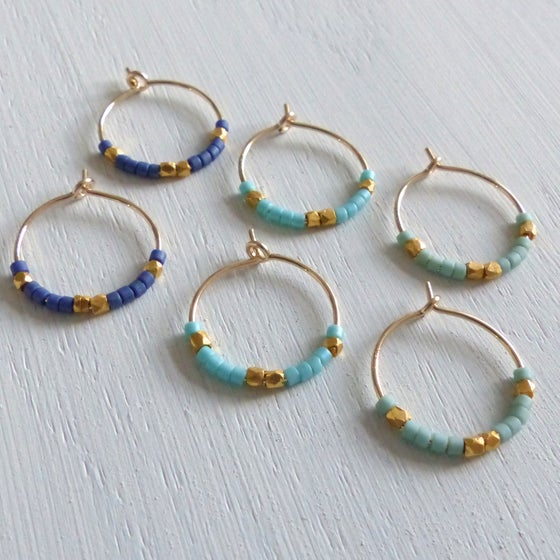 Image of Petite Fair Trade And Ocean Inspired Bead Hoop Earrings