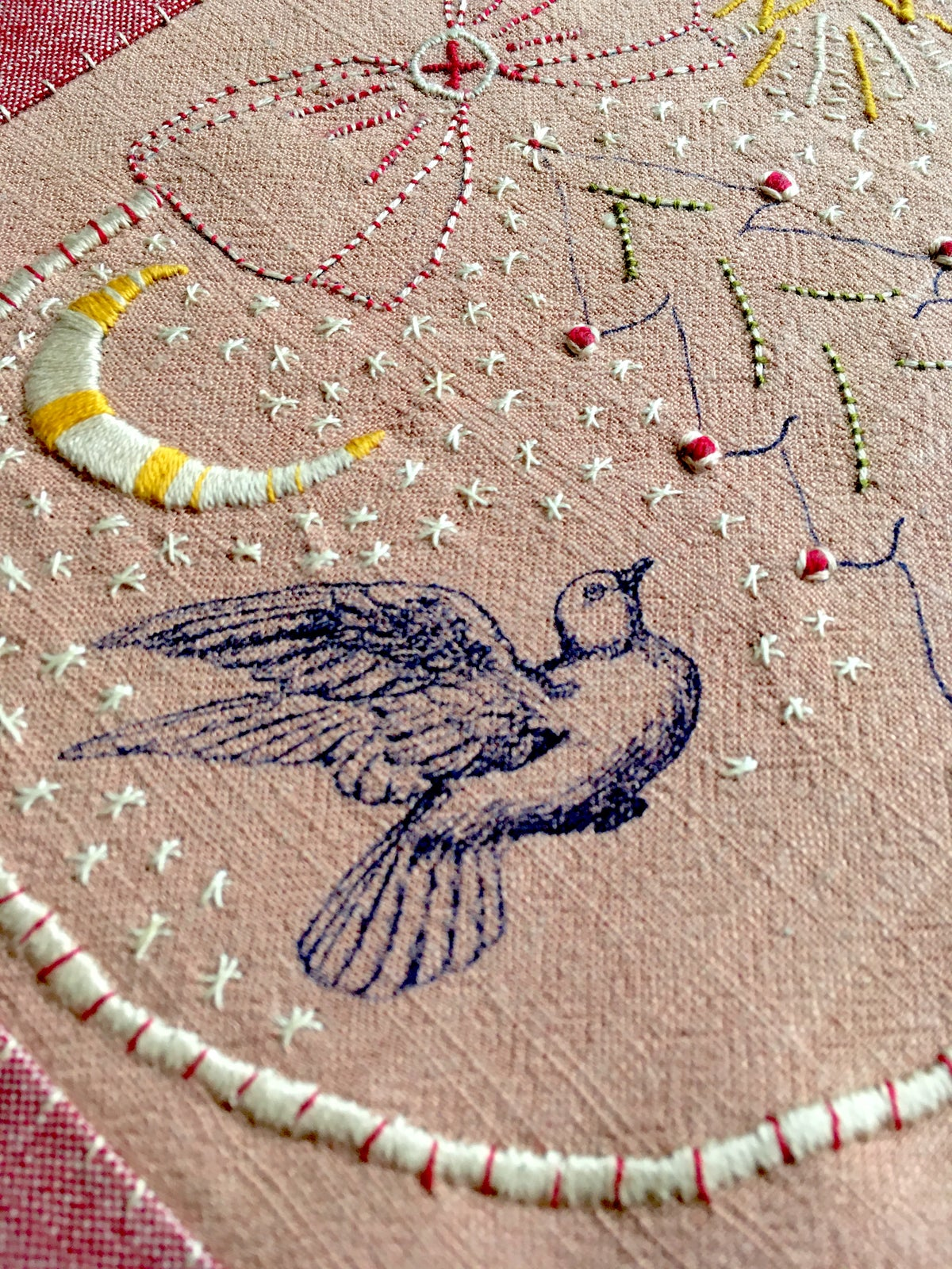 Image of 'Christmas' embroidery template on soft pink fabric