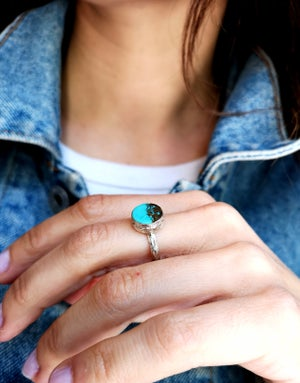 Image of Bague turquoise du Tibet - taille 56 -