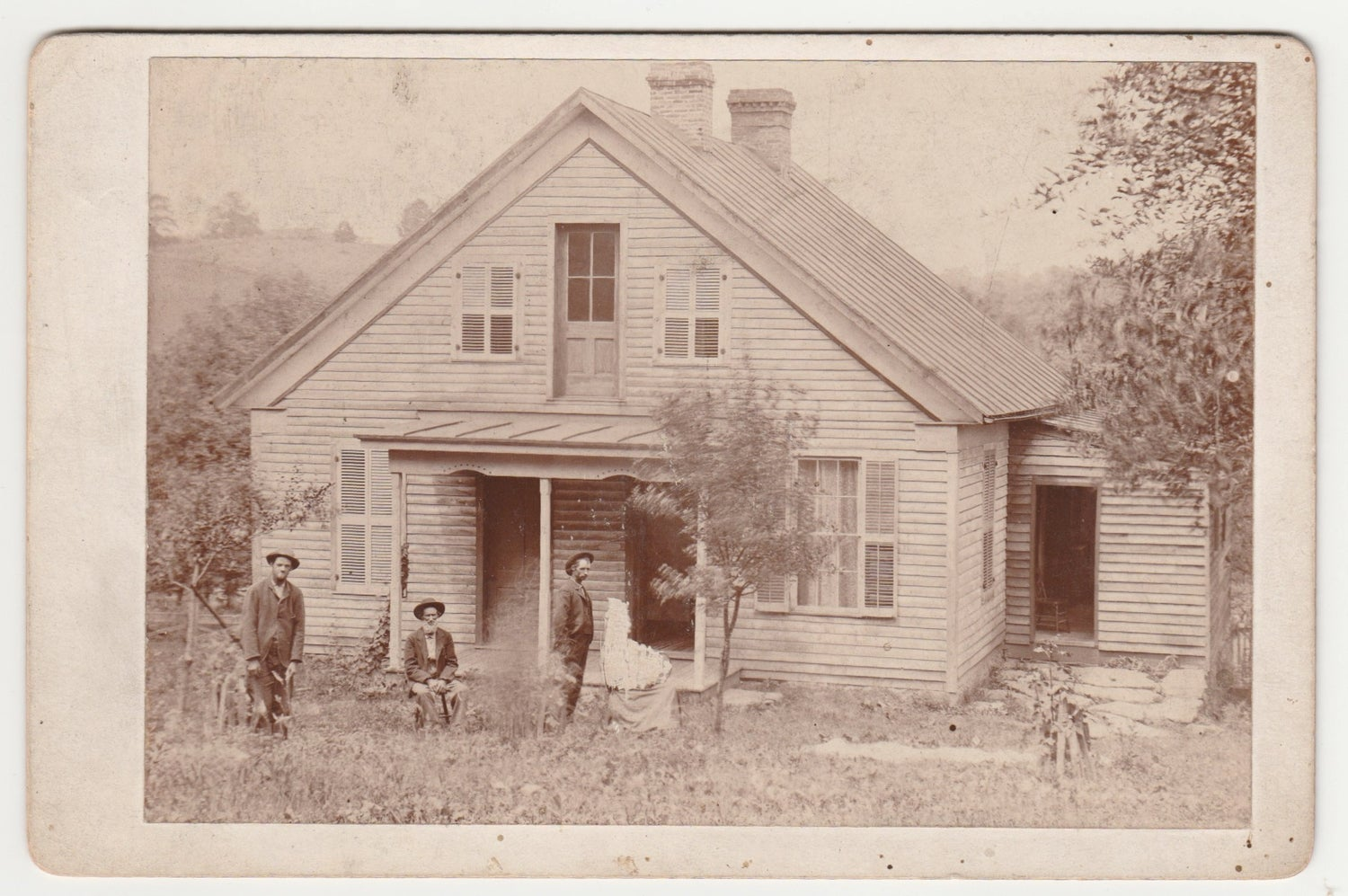 Image of Will. D. Telfer: scratched out person and three men, Ohio, ca. 1880