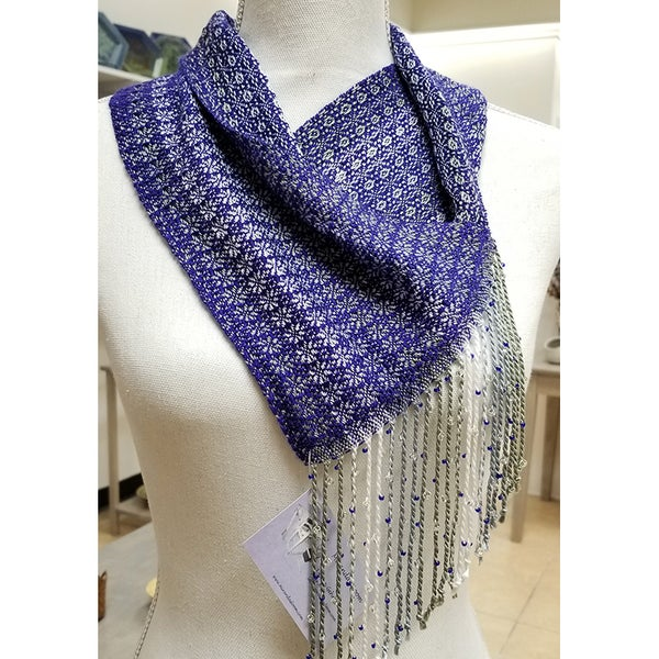 Image of Cowl - Iris Purple w/ Sage Silver White. Beaded Fringe.