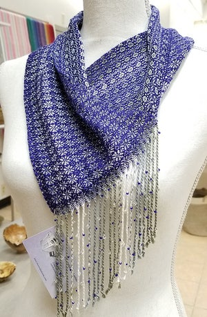 Image of Cowl - Indigo Blue w/ Sage Silver White. Beaded Fringe.