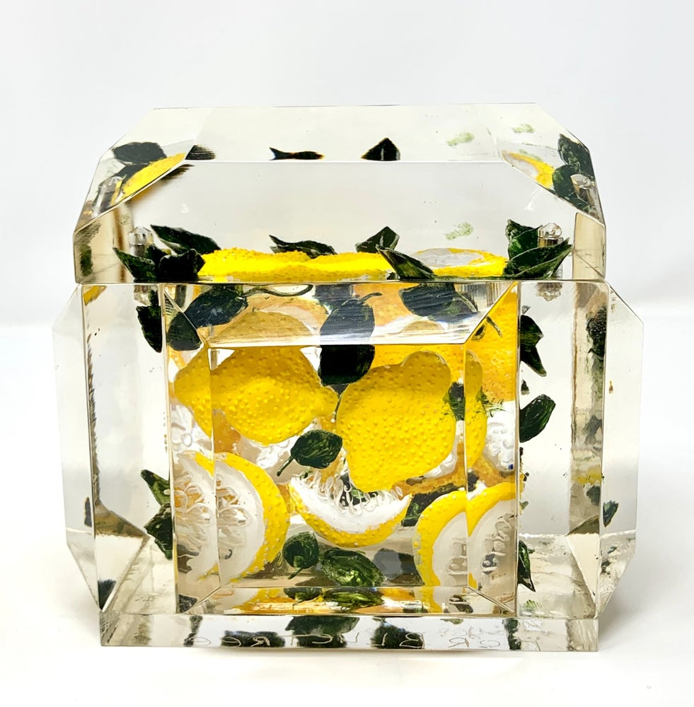 Image of Lemon Mini Victorian Painted Lucite Box