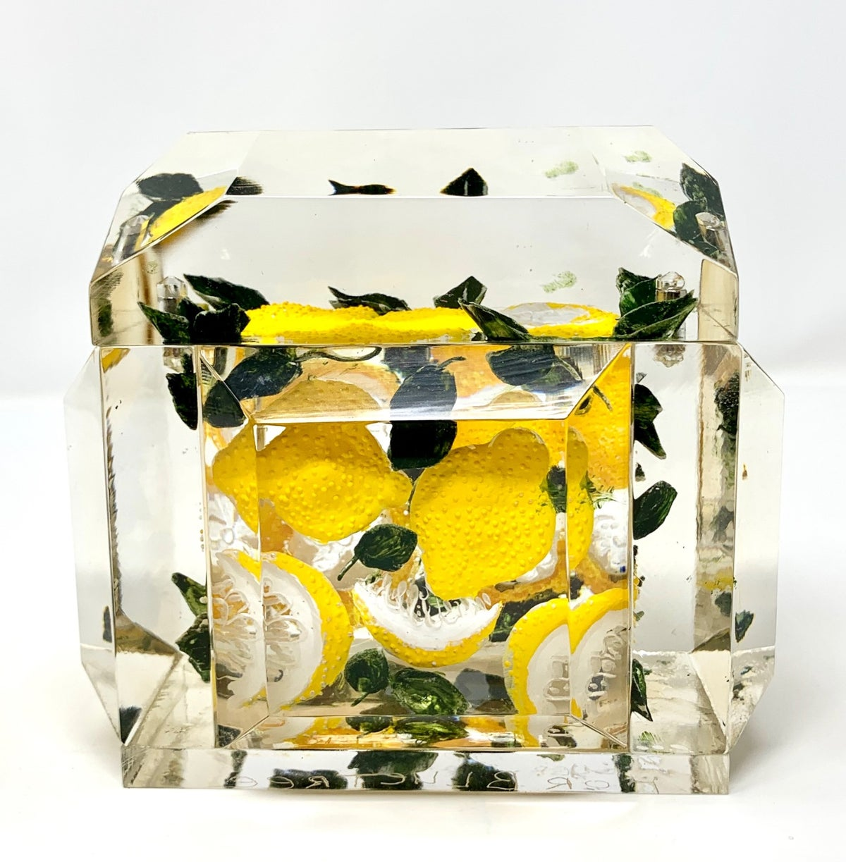 Image of  Mini Victorian Painted Lemons Lucite Box