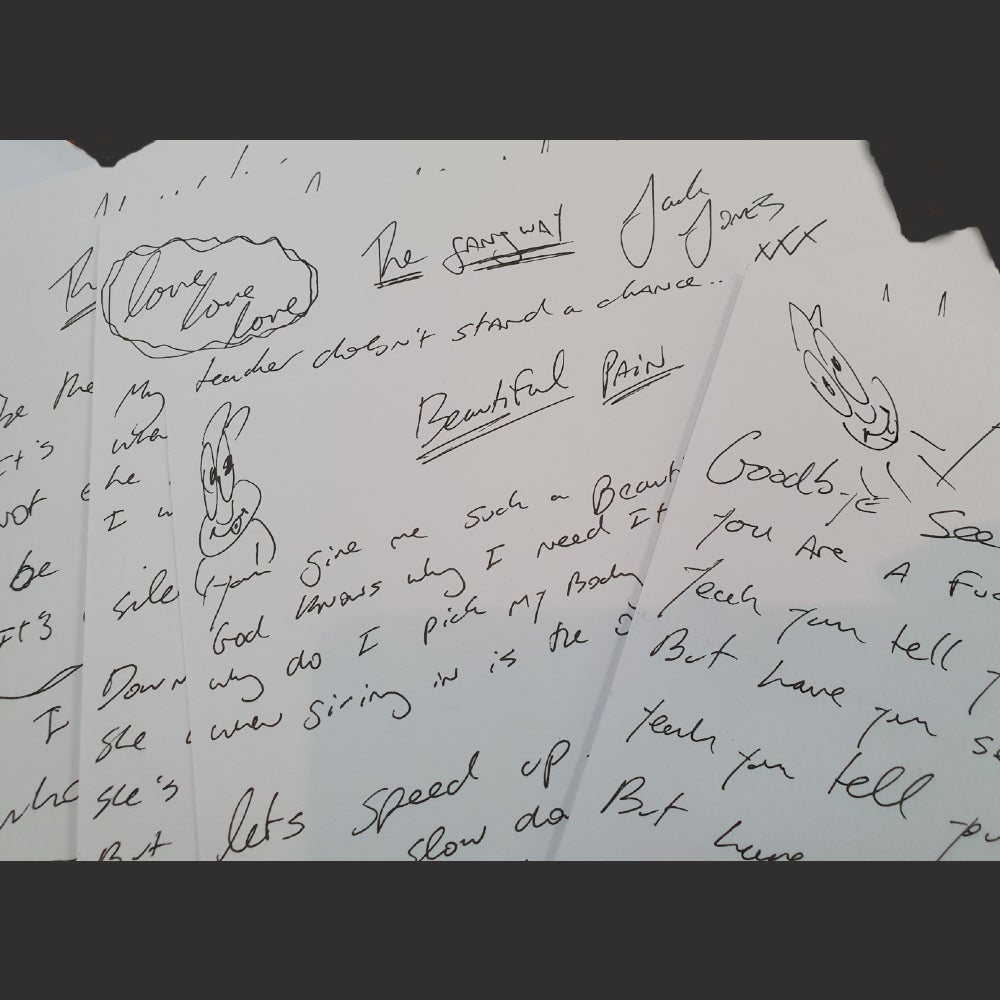 Image of Handwritten TRAMPOLENE lyric sheet