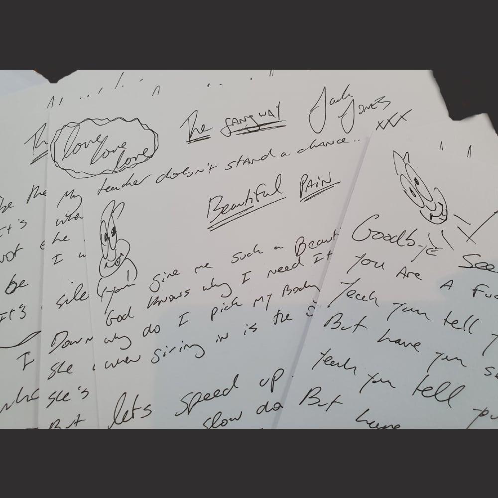 Image of Handwritten TRAMPOLENE lyric sheet