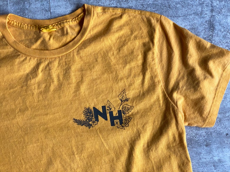 Image of Vintage Yellow Botanical Live Free or Die Shirt