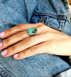 Image of Bague turquoise du tibet - taille 56 - #4441
