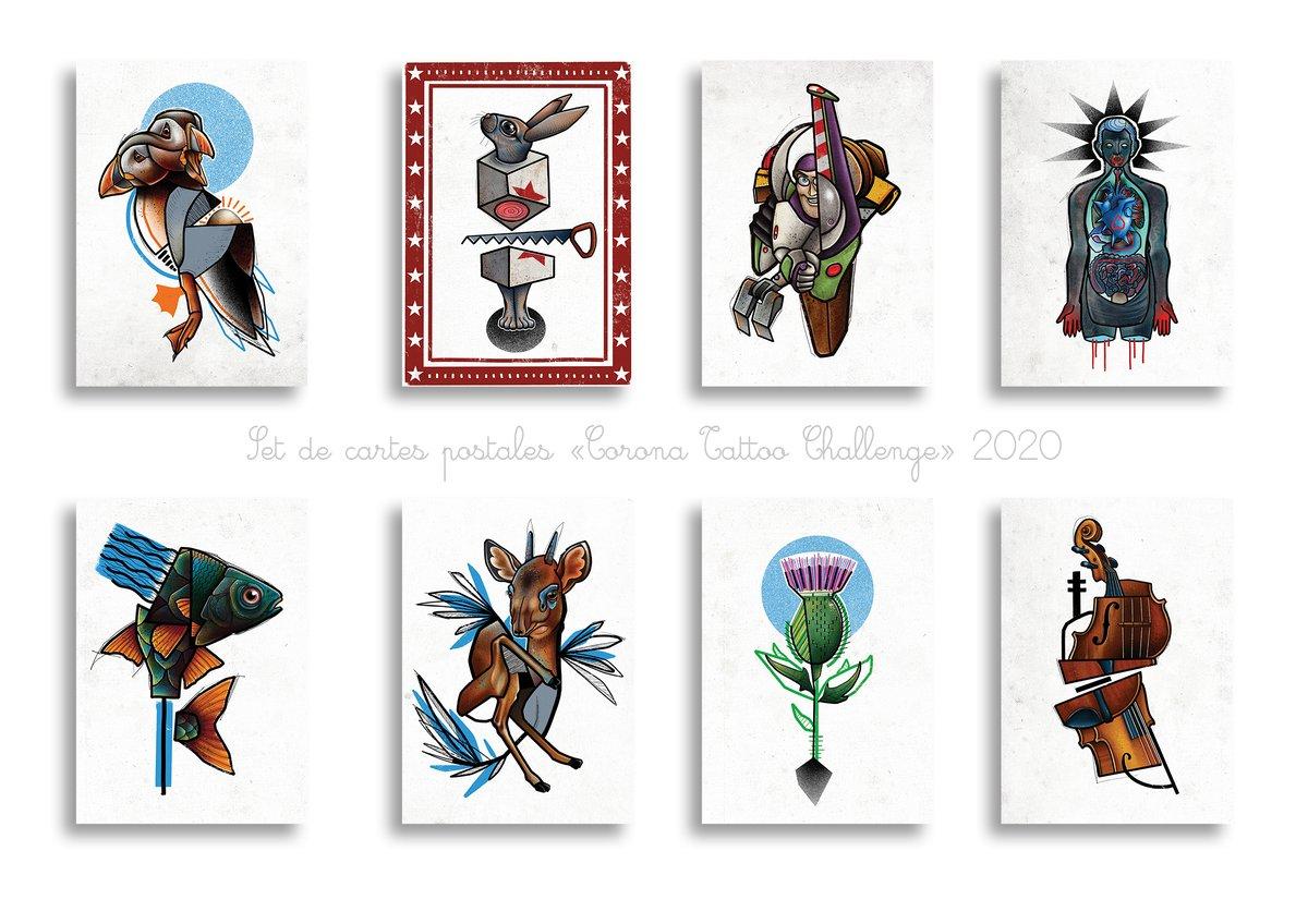 Prévente / Pre-order Set 8 cartes postales CORONA TATTOO CHALLENGE A6
