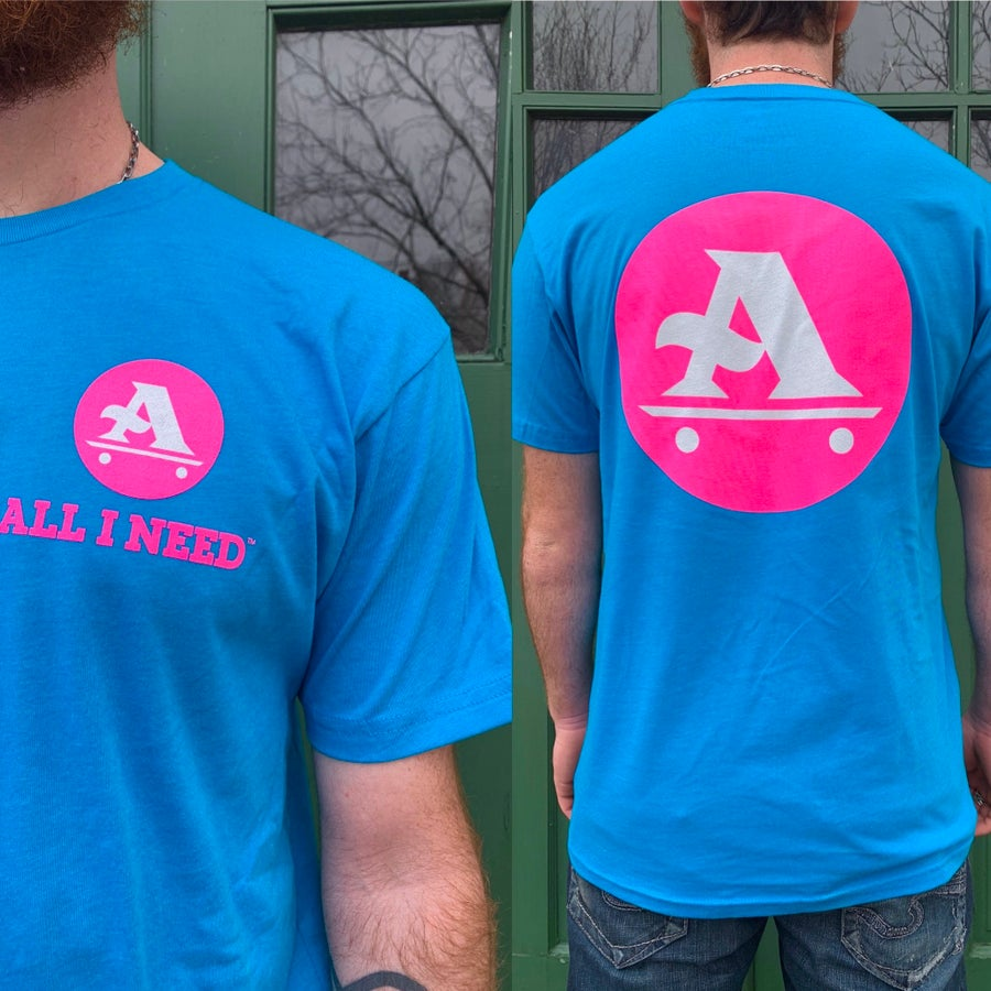 Image of A-logo tee sapphire / pink