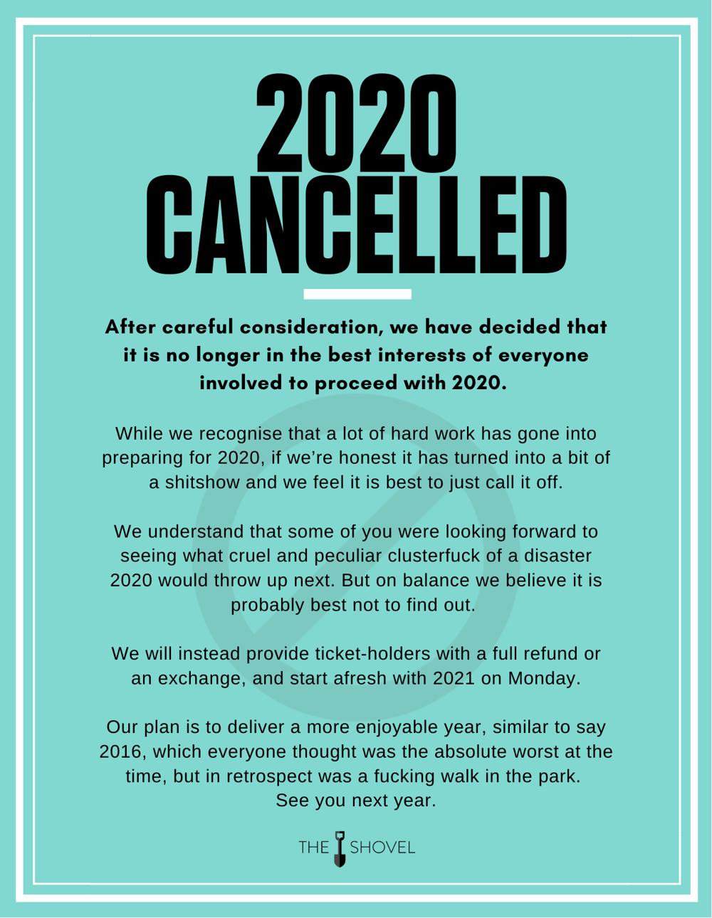 Image of 2020 Cancelled Fridge Magnet
