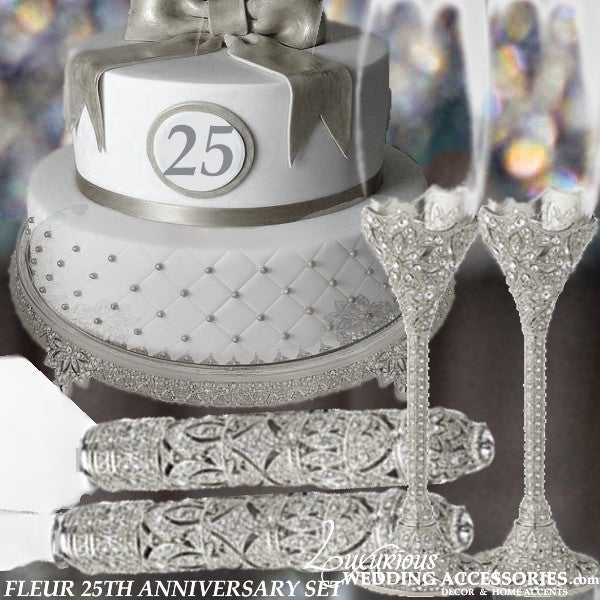 Image of  25th Anniversary Swarovski Crystal Cake Plateau & Server Set