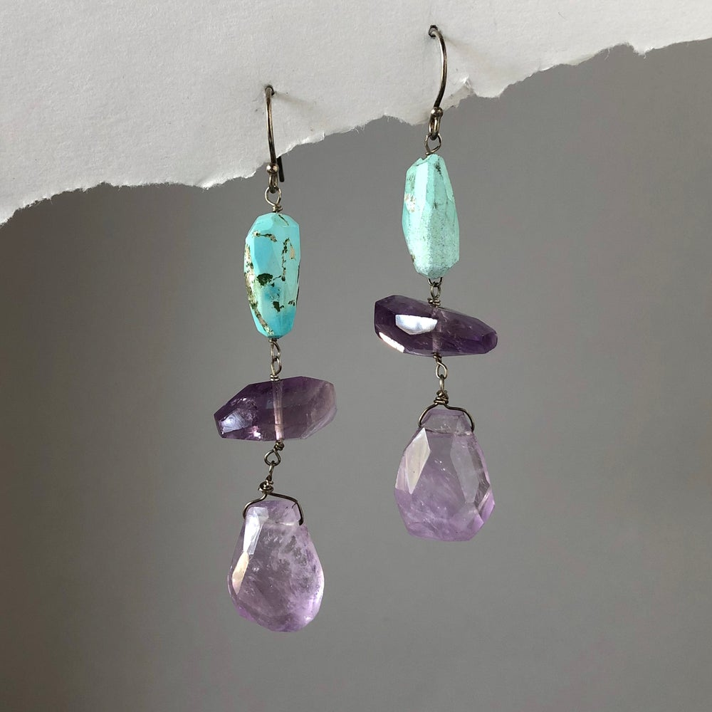 Image of Amethyst & Turquoise Cascade Earrings