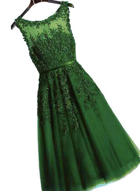 Dark Green Tea Length Tulle Party Dress, A-line Bridesmaid Dress