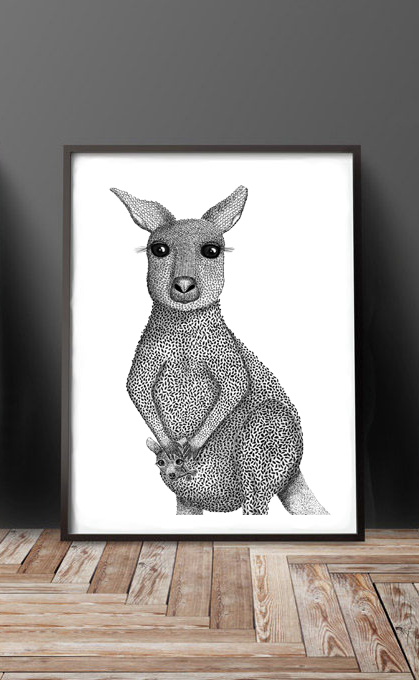Image of Kangaroo with Joey