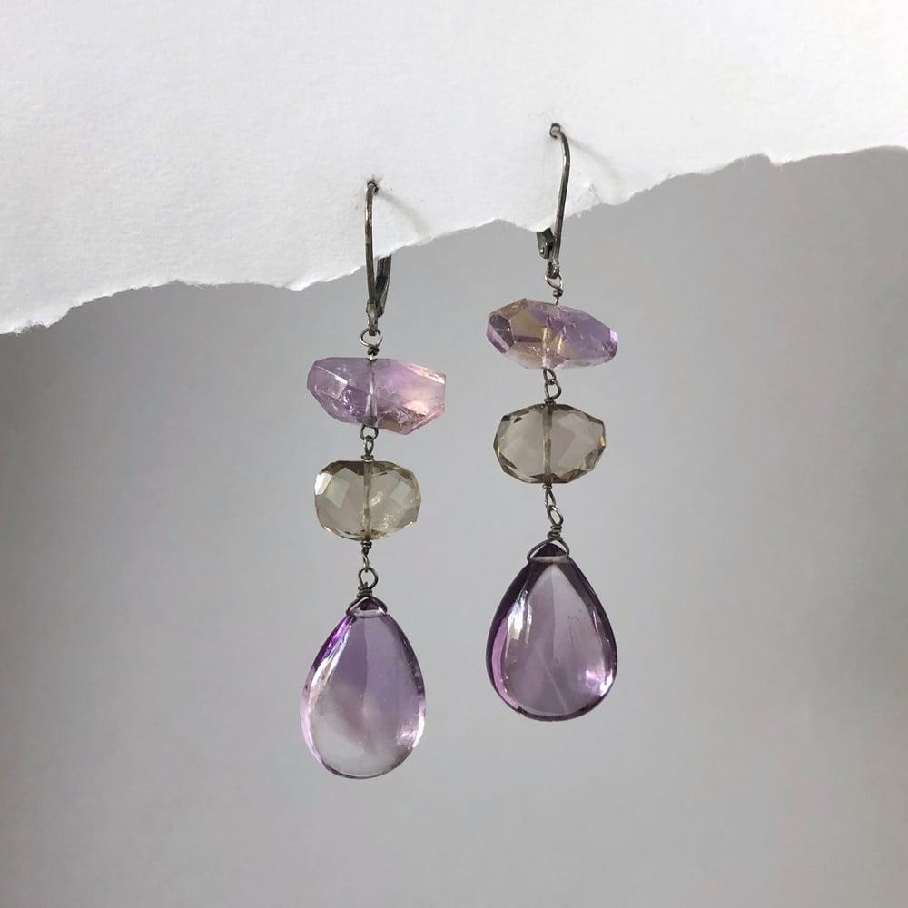 Image of Amethyst & Smoky Quartz Cascade Earrings