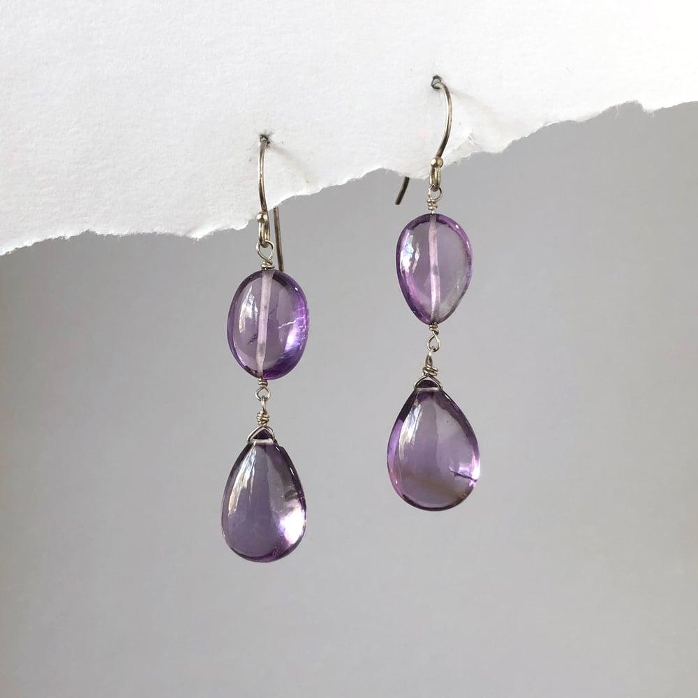 Image of Polished Amethyst Drop Earrings