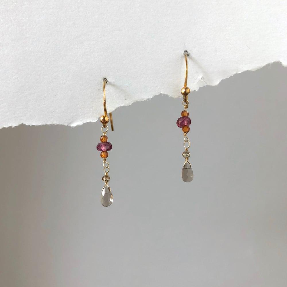 Image of Tiny Champagne Diamond Smoky Quartz & Garnet Earrings