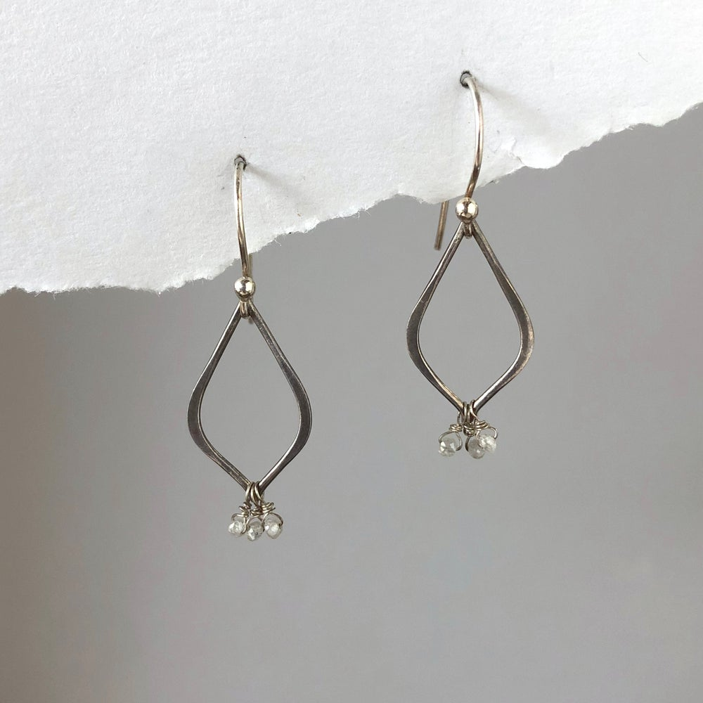 Image of Diamond Cluster Teardrop Earrings