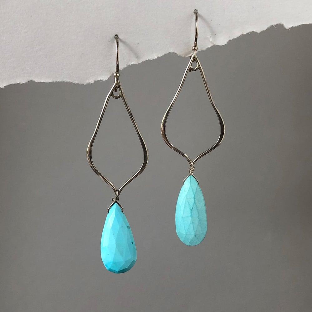 Image of Sleeping Beauty Turquoise Open Teardrop Earrings