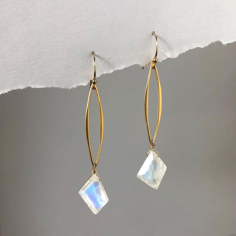 Image of Moonstone Open Marquise Dangle Earrings