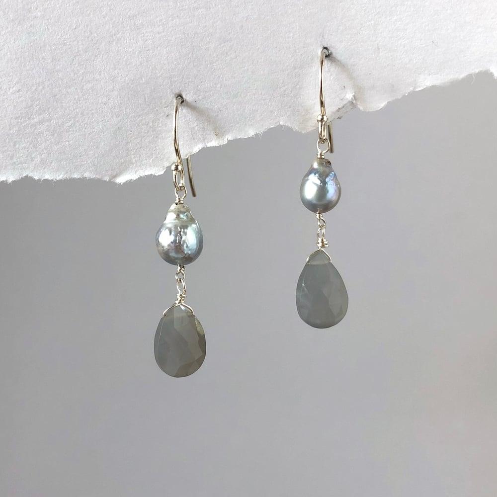 Image of Grey Pearl & Moonstone Drop Earrings