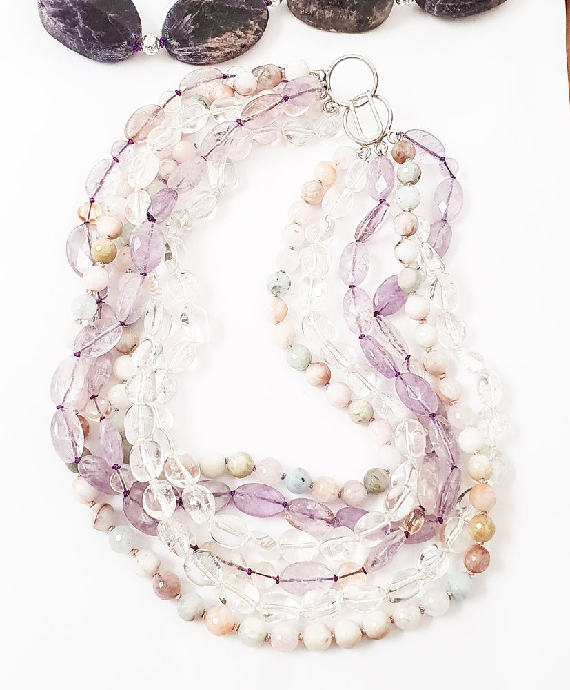 Image of Aquamarine, Clear Quartz, Amethyst and Ametrine Necklace