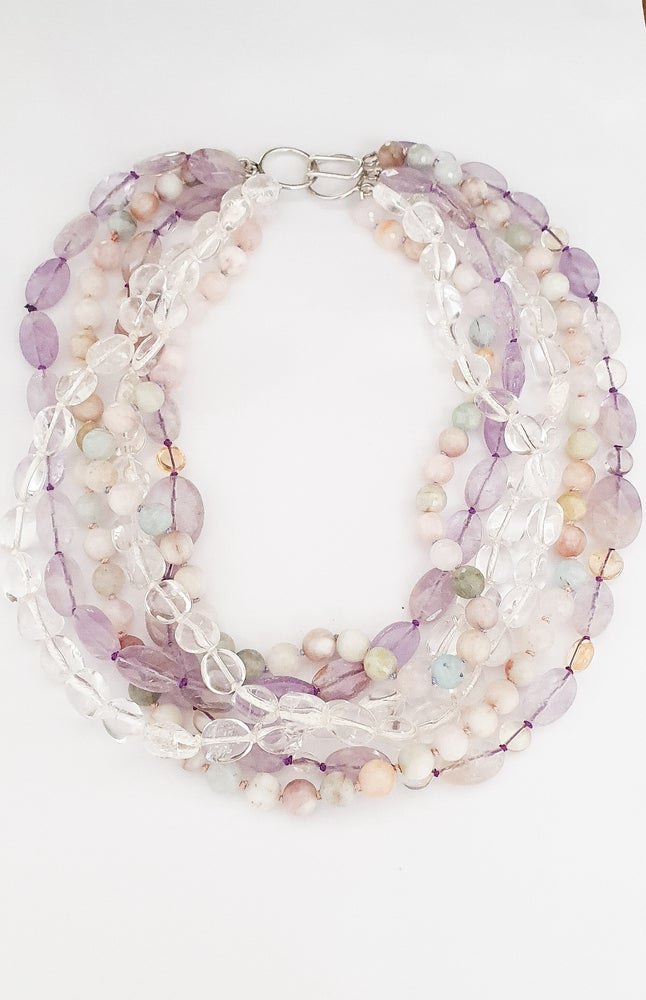 Image of Aquamarine, Clear Quartz, Amethyst and Ametrine Necklace