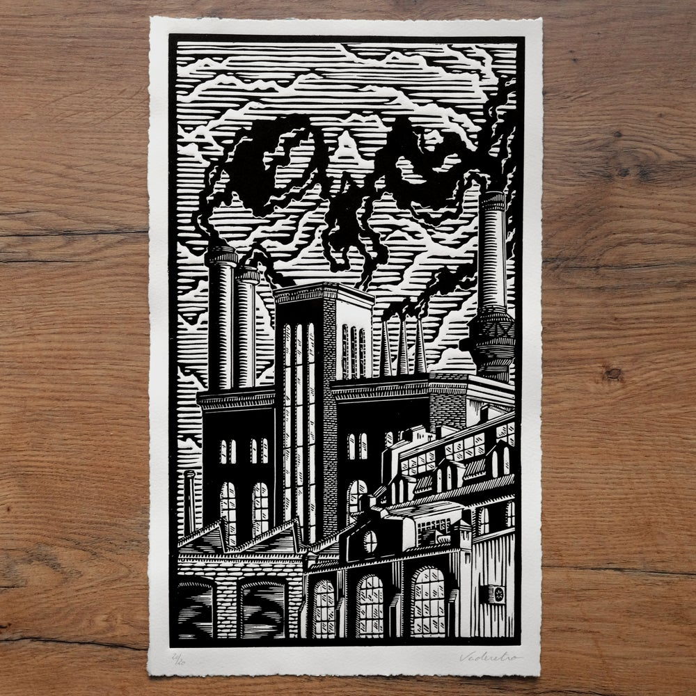 Image of DEATH AT THE&nbspFACTURY <br>(linocut print)