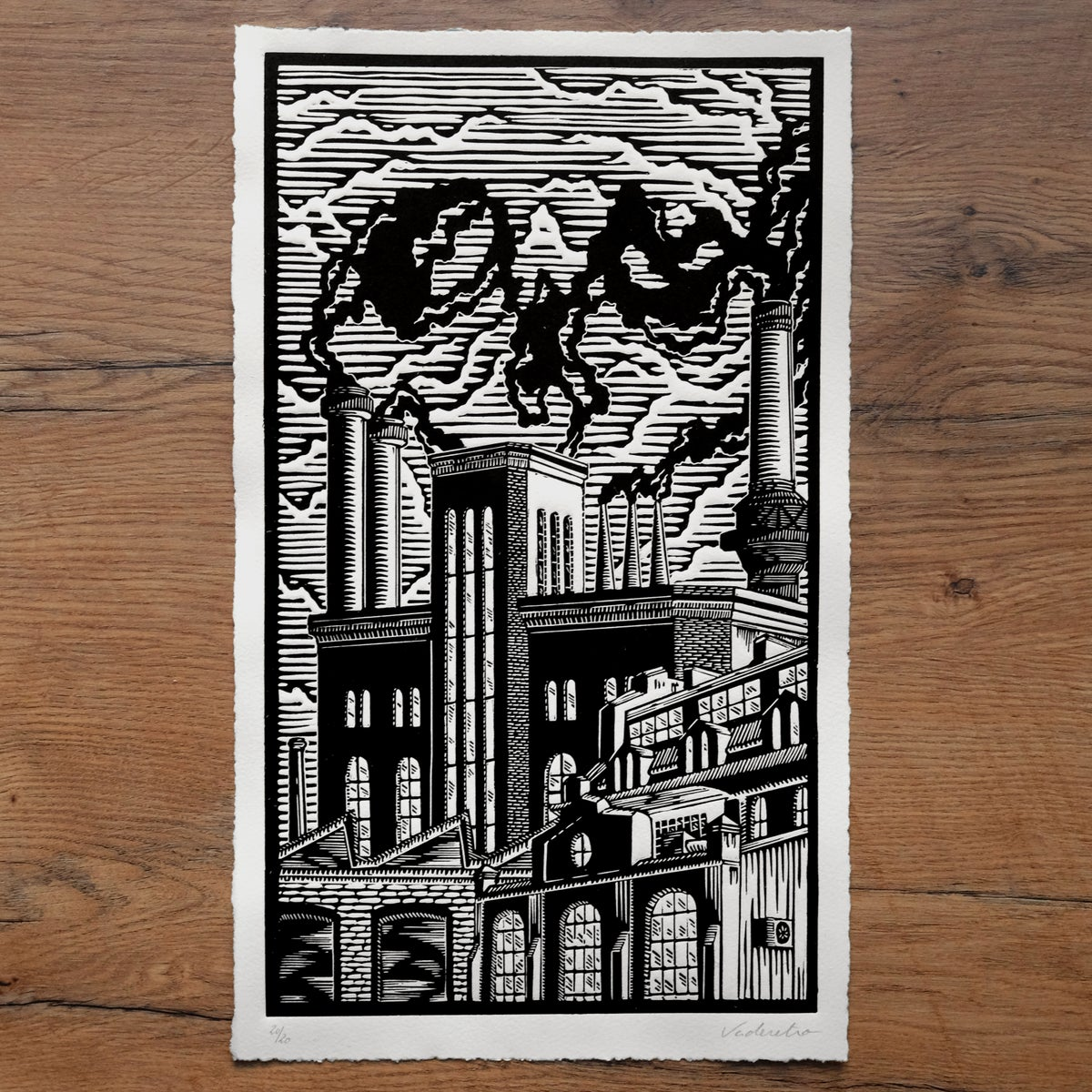 Image of DEATH AT THE&nbspFACTORY <br>(linocut print)