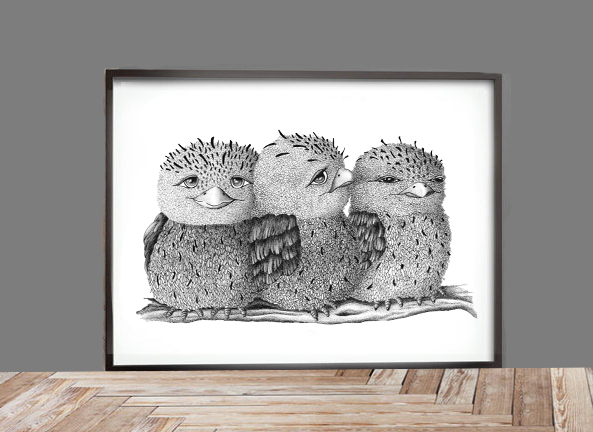 Image of Tawny Frogmouth family
