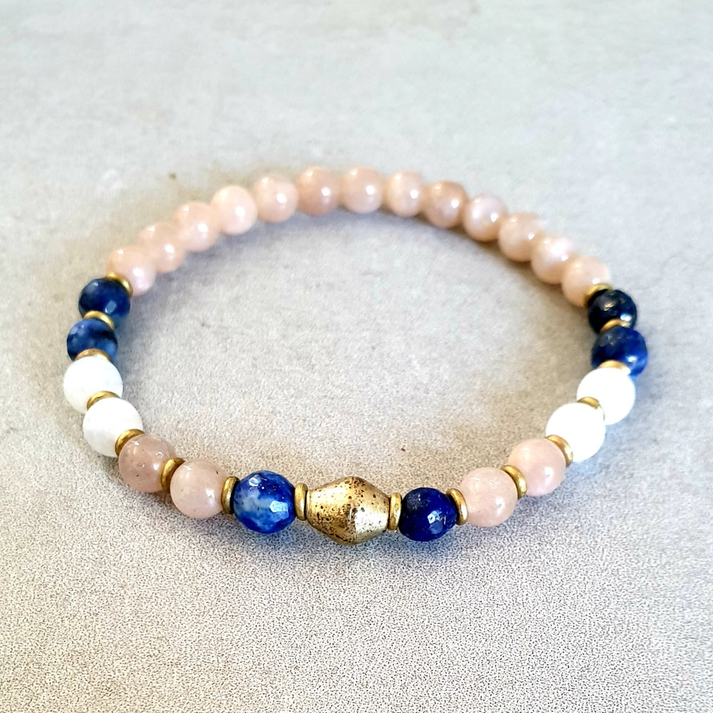 Image of 'CONNECTION' MALA BRACELET - Moonstone - Lapis Lazuli - Brass