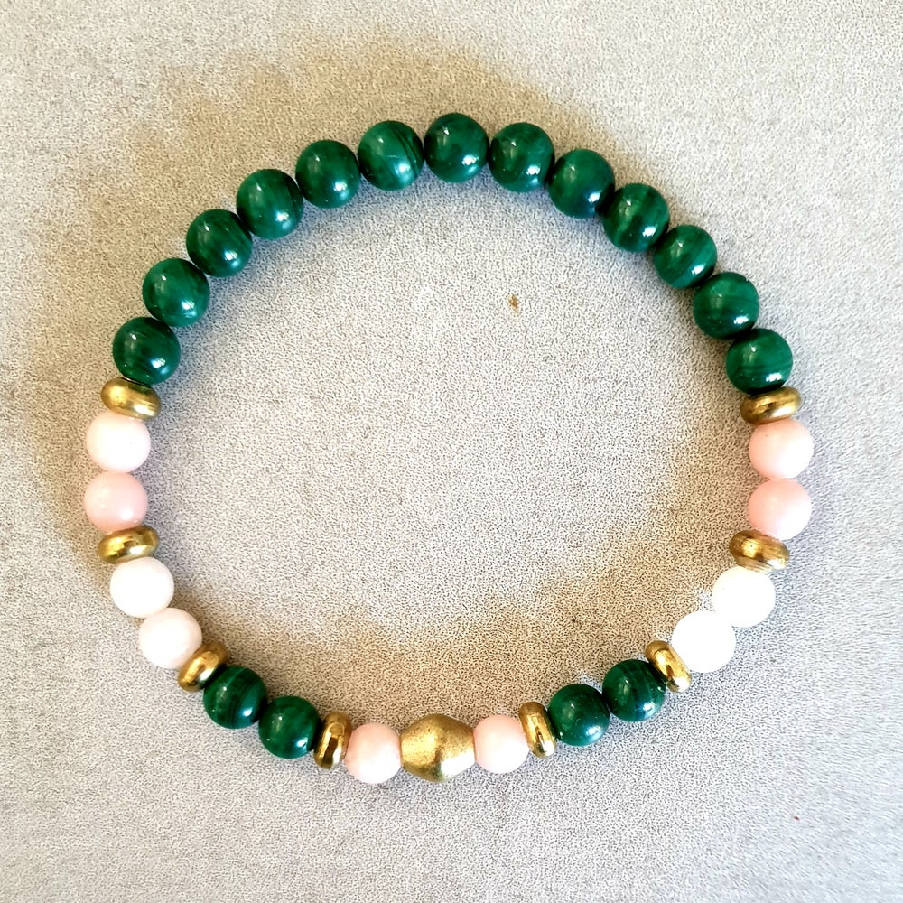Image of 'LOVE' MALA BRACELET - Malachite - Morganite - Pink Opal - Brass