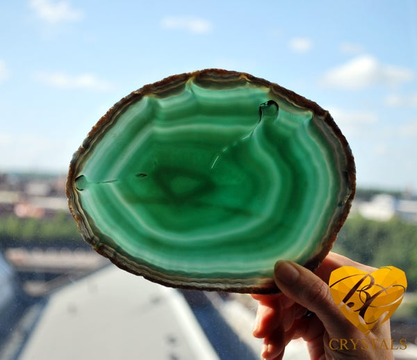 Image of Green Agate Slab | Slate | Rare Find Heart Shape inclusion | Translucent