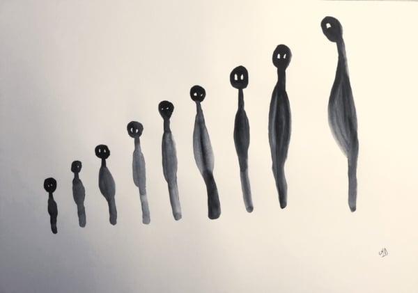 "Image of ""Nine Dooz in ascending order"", Nine Dooz, watercolor A3"