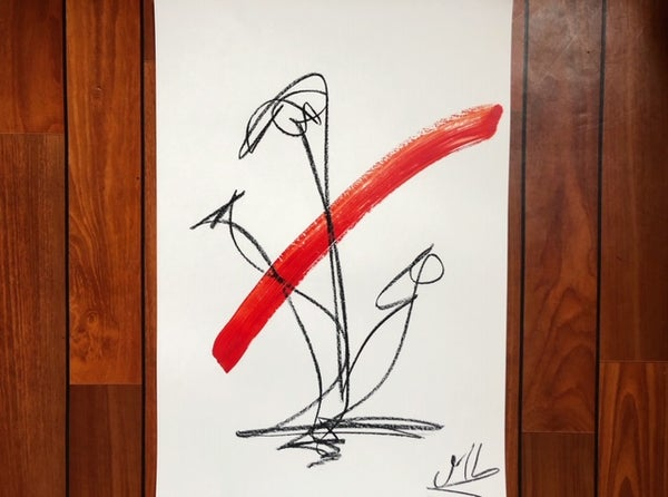 """Image of """"3 flowers and red"""" Acrylic and charcoal - A2"""