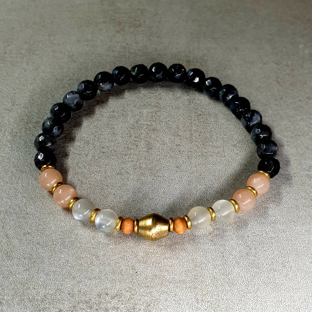 Image of 'INNER STRENGTH' MALA BRACELET - Larvikite - Moonstone - Brass