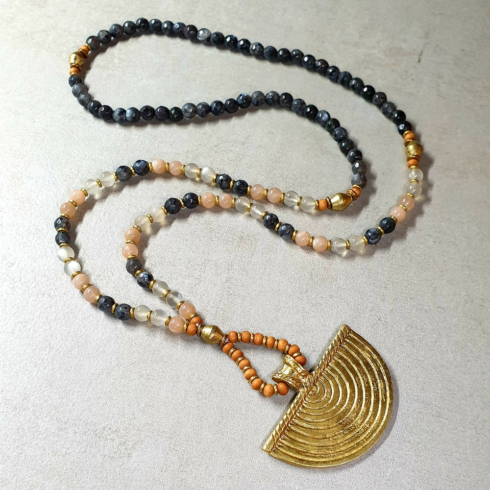 Image of 'INNER STRENGTH' MALA NECKLACE - Larvikite - Moonstone - Brass - Sandalwood