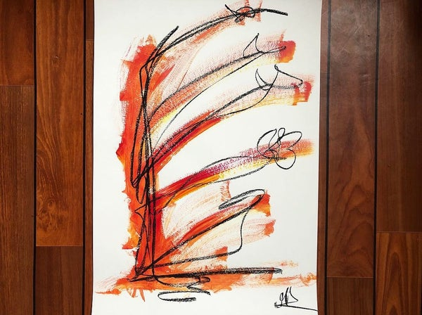 """Image of """"5 flowers and red"""" Acrilic and charcoal - A2"""