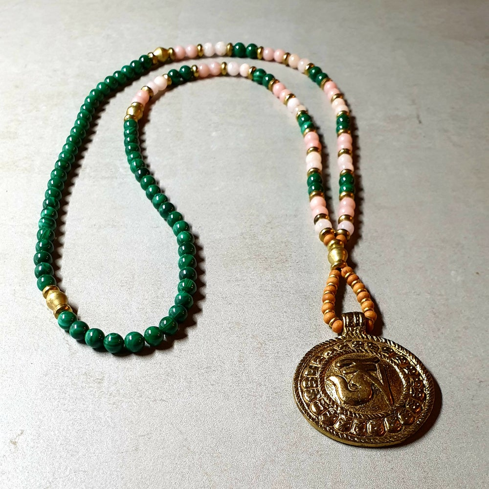 Image of 'LOVE' MALA OM NECKLACE - Malachite - Morganite - Pink Opal