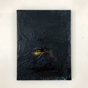 "Image of ""Lunar view with a boat"" Mixed media on canvas."