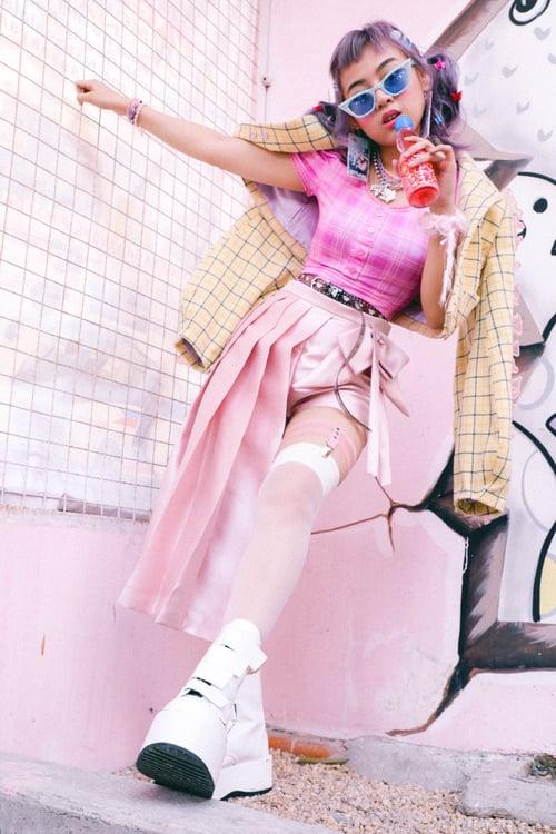 Image of Pink Taho Asymmetrical Skirt