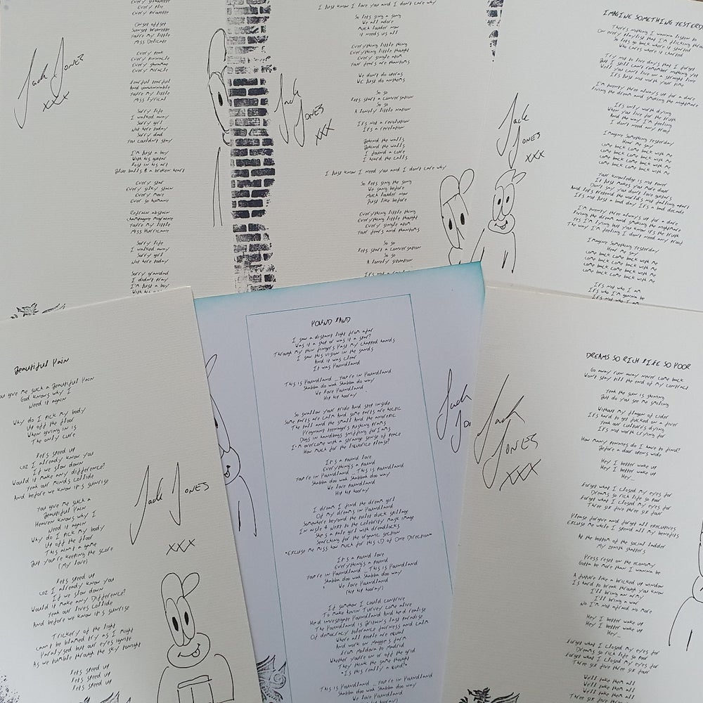 Image of Lyric sheet, signed and hand illustrated on A4 card