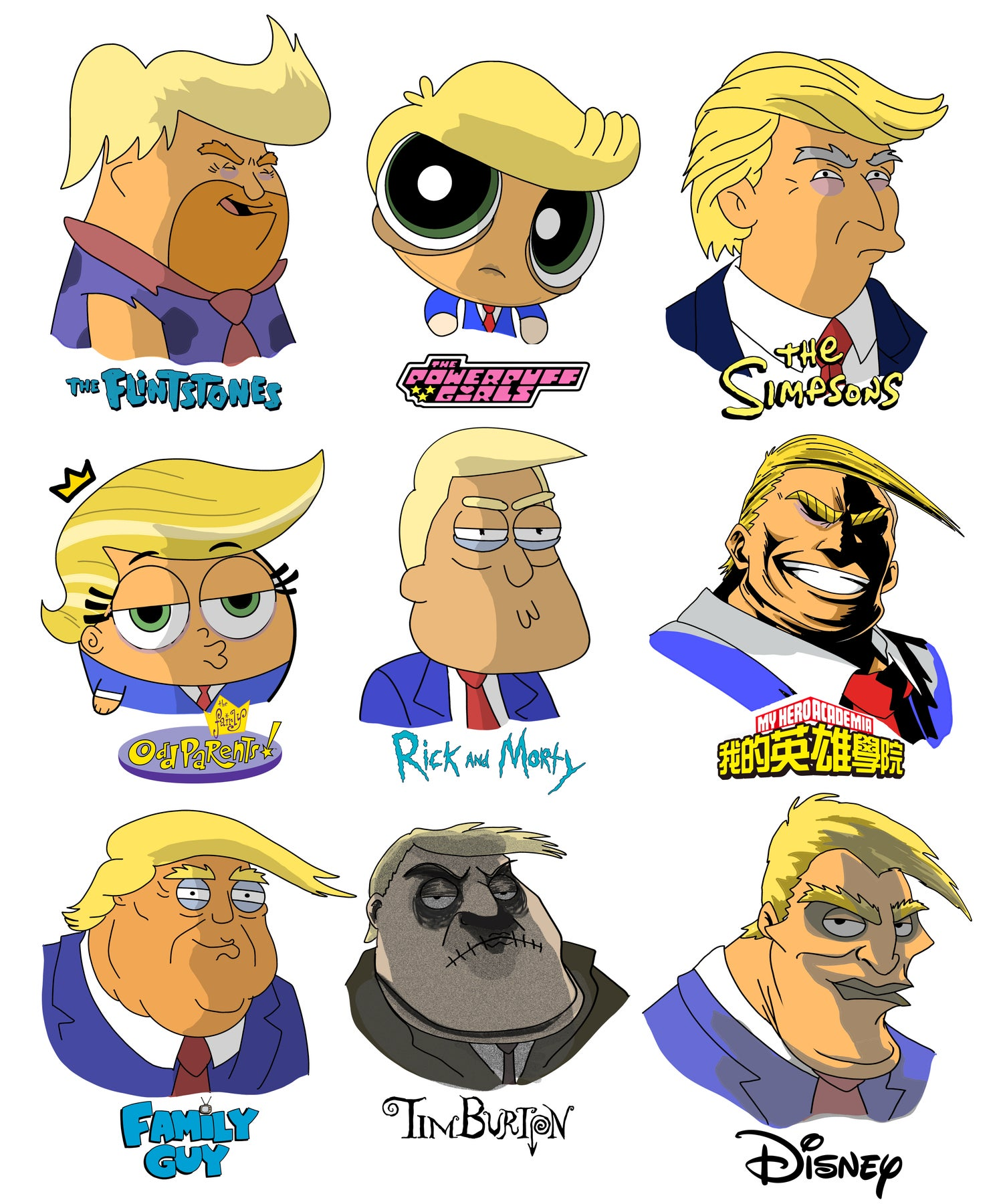 Image of #177 Trump different art styles