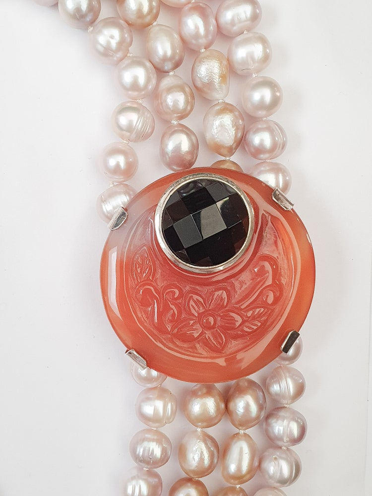 Image of Statement Pink Freshwater Pearl and Carnelian Clasp Necklace